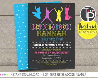 boy jump invitation instant download bounce party invitation