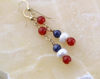 Red, White, and Blue Gemstone Earrings, Gold Filled or Sterling Silver, Patriotic, Military Wedding, Carnelian, Pearl, Sapphire Gemstones