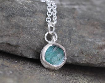 Blue Green Apatite Pendant - Rustic Apatite Necklace - Raw Rough Uncut Green Gemstone Jewellery - Sterling Silver