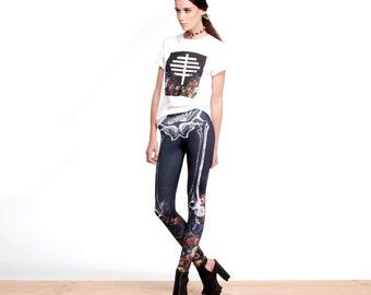 Skeleton Leggings, Printed Leggings, Floral Leggings, Bones Leggings, Gothic Leggings, Made in Canada, Comfortable, NorwegianWood, Handmade