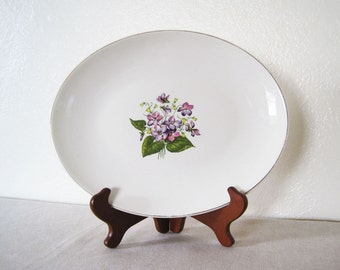 "Edwin Knowles Wood Violets Oval Serving Platter 13"" Gold Rim Floral Purple Flowers"
