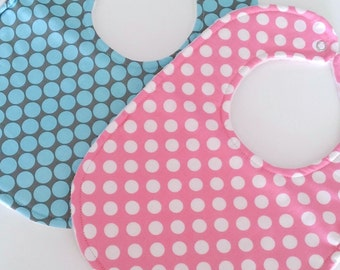 Baby Bibs Set of 2, Full Moon Polka Dot & Ta Dot