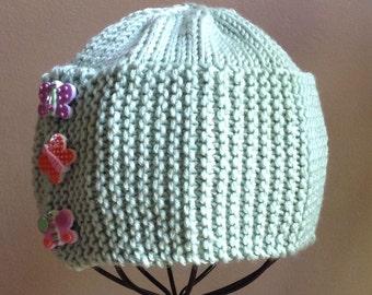 SALE - 25% off Hand Knit Baby Beanie Photo Prop Easter Bonnet Sage Butterflies Cloche