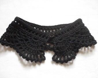 Crochet collar lace Peter Pan collar collar BLACK cotton crocheted selfmade