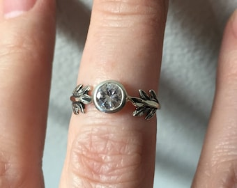 White Sapphire and Sterling Silver- The Fire Leaf Ring