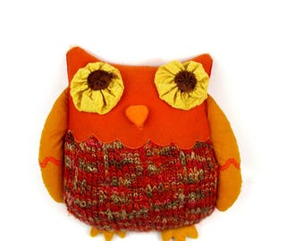 1970s Vintage Kitschy Owl Pillow, Retro Orange Mixed Materials Owl Shaped Pillow, Crochet,Felt, Cotton,Satin