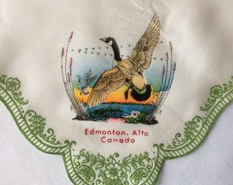 Flocked hanky from Edmonton Canada with Canadian goose