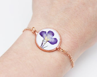 Rose gold purple pressed flower bracelet