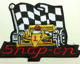 F1 Racing Car Flag Punk Patch (10 x 7 cm) Embroidered Applique Iron on Patch (X)