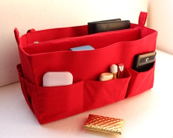 Large Bag organizer - Purse organizer insert in Cherry Red fabric