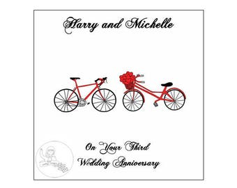 Handmade Personalised Third Wedding Anniversary Card 3rd Road Bikes Bicycle Hearts Leather
