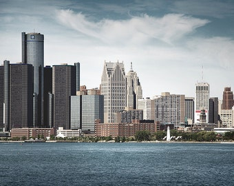Detroit Photography - Detroit River Skyline