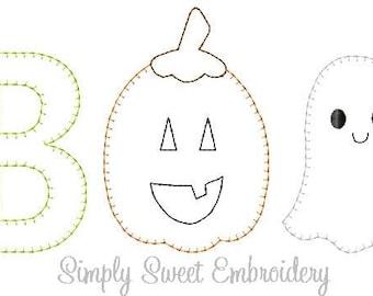 Boo Pumpkin Ghost Vintage Stitch Machine Embroidery Design