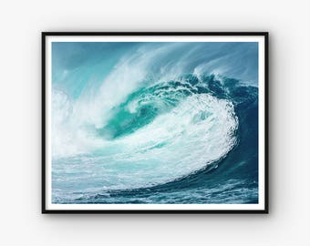 Wave Print, Water Wave Wall Art, Ocean Wave Photo, Wave Photography, Ocean Print, Ocean Decor, Sea Print, Ocean Photography, Wave Art,