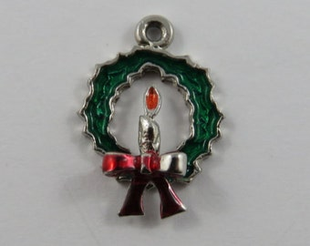 Enameled Holiday Wreath with Red Candle in the Center Sterling Silver Charm or Pendant.
