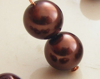 8mm Glass Pearl Beads Round Brown (Qty 16) Z-P8R-BWN