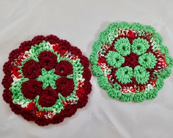 Set of Two Holiday Pot Holders Cranapple