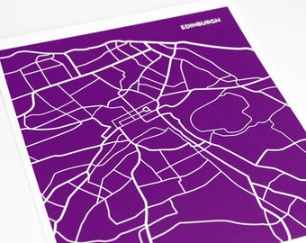 Edinburgh City Print Line Poster / Scotland UK Map Art Wall Hanging / 8x10 Digital Print / Choose your color