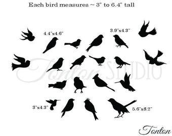 Birds Wall Decal - black birds silhouette - 20 flying and sitting birds vinyl wall decor art sticker graphics - K261