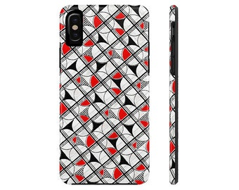 iPhone Tough Case, iPhone 7 Case, iPhone 8 Case, Retro Phone Case, Red Phone Case, Geometric, iPhone X Case, Galaxy S6 Case, Phone Cases,