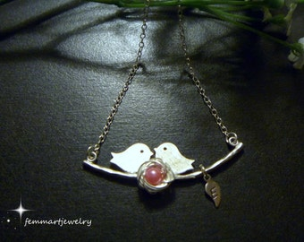 Birds on branch with bird nest necklace, 1-4 eggs, personalized with tiny leaf initials