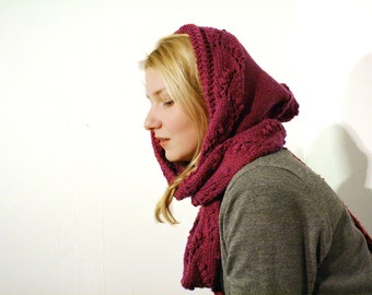 Woman Hooded scarf with lace pattern, hood merino neck warmer, soft lace scarf