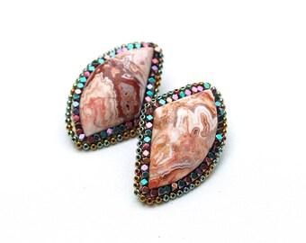 Crazy Lace Agate Stud Earrings-Bohemian Earrings -Statement Earrings - Stud Earrings-Agate Earrings-Post Earrings-Unique-Boho