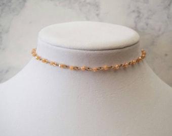 Peach Beaded Choker Necklace