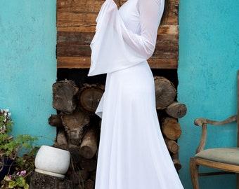 Boho wedding dress, Dress for wedding, Bridal dress,Form fitting wedding dress, fitted wedding dress,  Magnolia white
