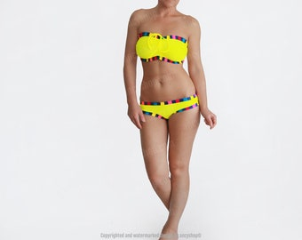 Yellow Bikini, Big Bust Swimwear, DDD Swimsuits, Striped Bathing Suit, Plus Size Bikini, Designer Swimwear, 36DD Swimsuit, 36E Swimwear