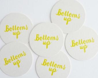 Bottoms Up – Letterpress Coasters