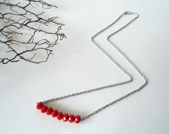 Red Necklace, Red Crystal Necklace, Minimal Necklace, Short Necklace, Simple Necklace, Women's Necklace, Gift for you.