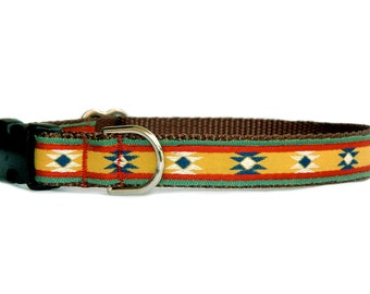 Dog collar & dog leash small dog collar Large dog collar boy dog collar Navaho Southwestern Tribal Mexican dog collar