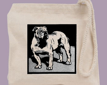 Vintage Bulldog Dog Walking Wristlet Mini Tote