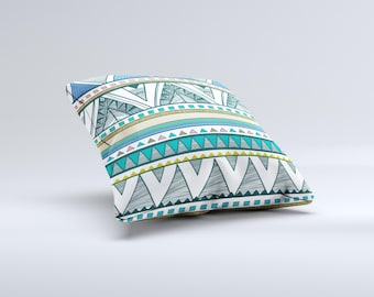 The Abstract Blue and Green Triangle Aztec  ink-Fuzed Decorative Throw Pillow