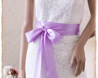 Bridal Sash ORCHID, Satin Ribbon Sash, Wedding Sash, Bridesmaids Sash, Bridal Belt, Satin Bridal Sash