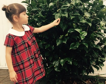 Lucy Girls Plaid Dress Size 2T, 3T, Child size 4, size 5, 6, 7, 8, 9, 10 Plaid girls dress, peter pan collar, Christmas red dress
