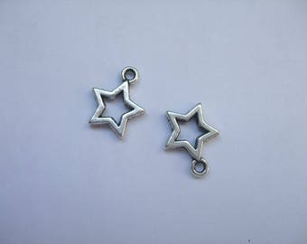 2 charms silver metal stars