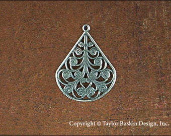 Antiqued Sterling Silver Plated Drop Earring Filigree Component (item 111 w/Loop AS) - 6 Pieces