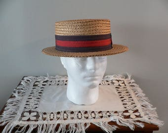 1920s- 30s  Straw Boater with Brown and Red Headband by Ponte Rialto Venice, Size 7 1/8