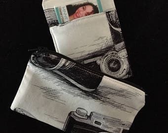 Business Card Holder and Zipper Coin Case Pouch Purse