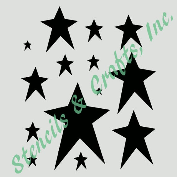 PRIMITIVE STARS STENCIL Assorted Celestial Star Stencils Template Templates Background Pattern Craft Paint Scrapbook New