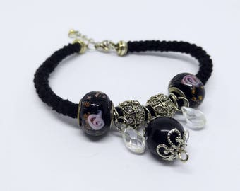 Black Romanian braided crochet with Obsidian Stone and Charms