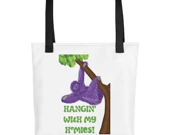 Purple Sloth Hangin with my Homies purse, carry on, diaper bag, Tote bag
