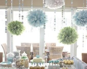 Tissue paper pompoms - 5 poms - choose your colors