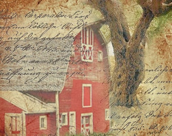 ZNE- The Old Red Barn - Digital Collage 5 x 5 - Art by ruby
