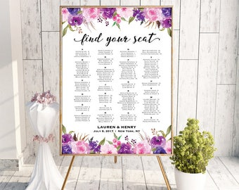 Lavender Wedding Alphabetical Seating Chart Template, Printable Purple Lilac Floral Seating Plan, 300 guests Large Poster, PDF Download #111