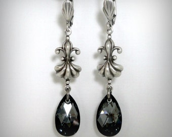 Fleur De Lis Earrings - French Earrings - French Jewelry - Crystal Earrings - Black Earrings - Vintage Earrings - Antique Style Jewelry