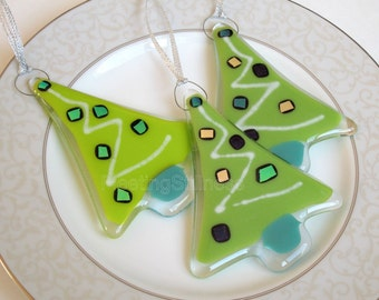 Fused Glass Ornament Christmas Tree Green Christmas Ornament Fused Glass Zigzag Geometric Party Favor