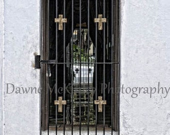 Gated Door with Crosses on White Stone Wall  Photograph Puerto Rico Door Decor 5x7, 8x10  SALE